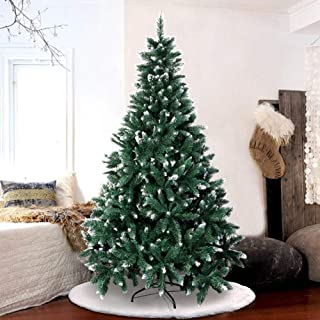 AerWo 6FT Flocked Snow Artificial Christmas Tree, Christmas Pine Trees with Metal Stand for Festive Holiday Decor (1000 Tips)
