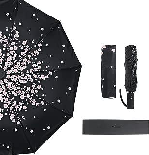 Umbrella, mtsugar Sakura Compact Automatic Open & Close Folding Umbrella - 10 Ribs Windproof UV Protection Lightweight with Safe Auto Lock Design, One Handed Operation