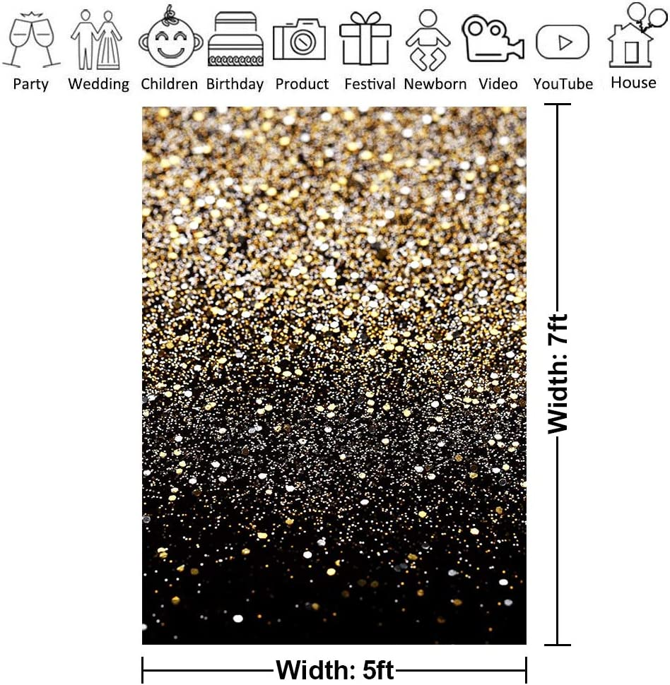 5x7ft ZGWJ Gold Glitter Photo Backdrop Sequin Spot Photo Booth Background Starry Sky Shining Party Birthday Prom Wedding Newborn Photography Studio Props Party Decor