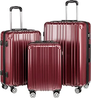 COOLIFE Luggage Expandable Suitcase PC+ABS 3 Piece Set with TSA Lock Spinner Carry on 20in24in28in (Wine red, 3 piece set)