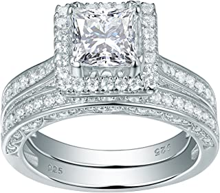 Newshe Wedding Band Engagement Ring Set for Women 925 Sterling Silver 2.8ct Princess White Cz Sz5-12