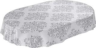 Anro Nappe de Table en Toile cirée Lavable – Gris Clair – Motif Baroque – avec arabesques – Ovale – 140 x 180cm