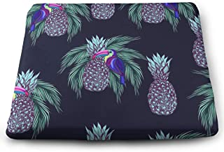 QQHEjuxin Cute Comfort Square Seat Cushion,Oucans and Pineapples On Dark Background Memory Foam Gel Chair Support Pillow with Removable Cover,for Wheelchair, Office & Car