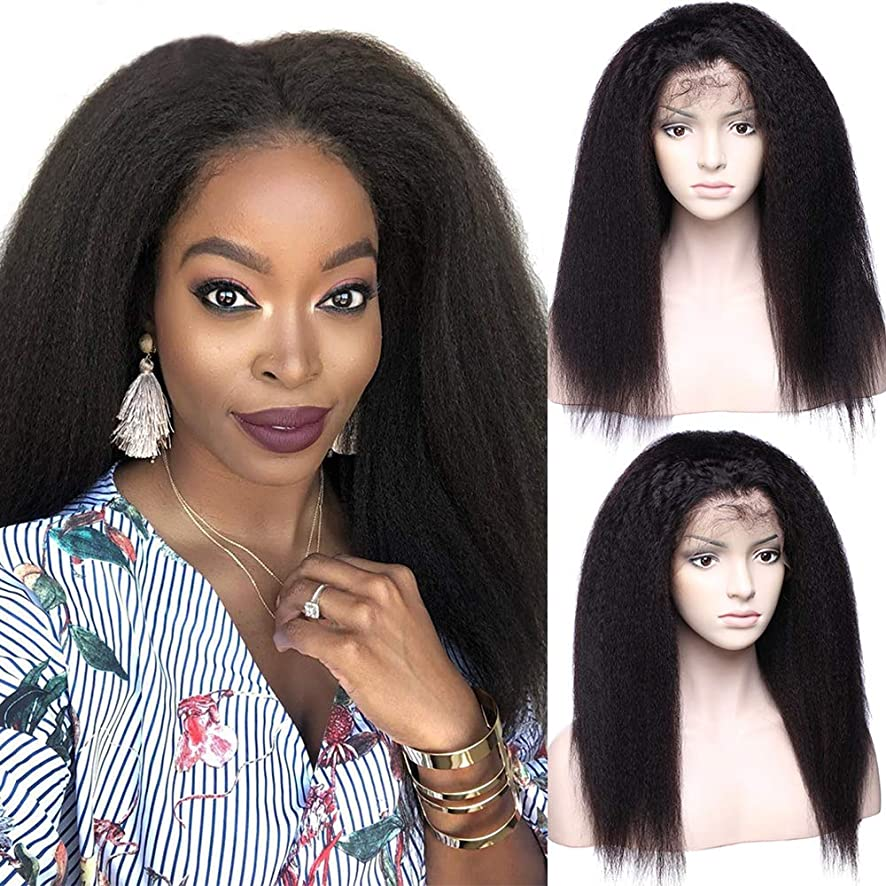 Glueless Thick Kinky Straight Lace Front Wigs 100% Remy Brazilian Human Hair Yaki Lace Wig With Baby Hair Pre Plucked Hairline For Black Women 14inch Natural 1B Black 130% Density