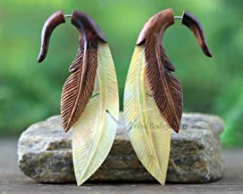 Hand Carved Organic Mother of Pearl and Sono Wood Faux Gauge Earrings - Feather Earrings for Regular Pierced Ear - Fake Gauge