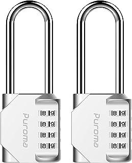 Puroma 2 Pack 2.6 Inch Long Shackle Combination Lock 4 Digit Outdoor Waterproof Padlock for School Gym Locker, Sports Lock...