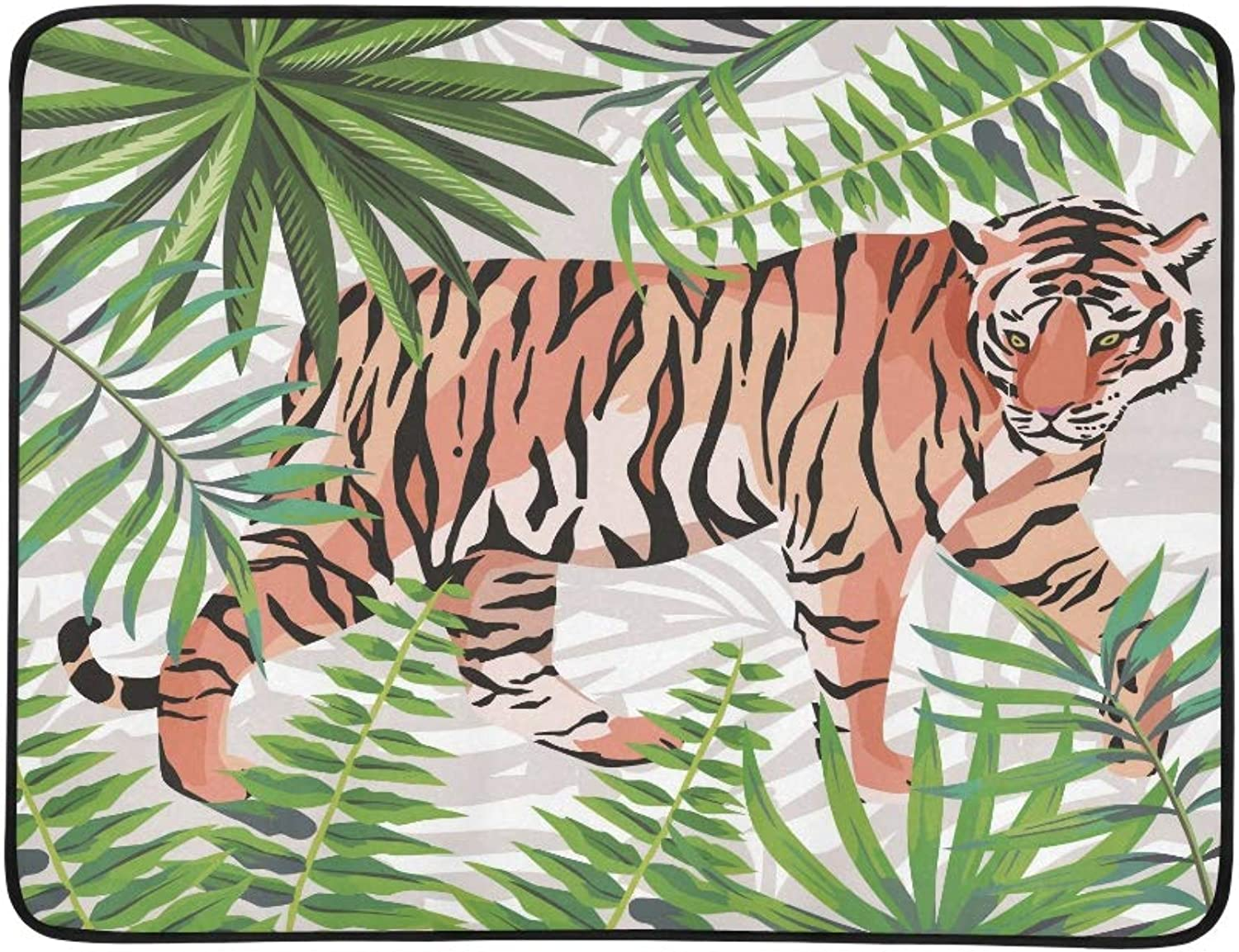 Tiger Walking in Tropical Jungle Green Leaves Pattern Portable and Foldable Blanket Mat 60x78 Inch Handy Mat for Camping Picnic Beach Indoor Outdoor Travel