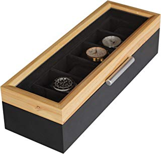 Two-Toned Pine and Black Base with Modern Aluminum Handle 6-Slot Watch Box with Real Glass