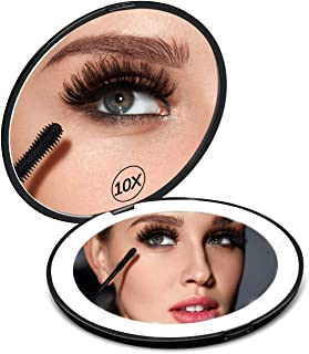 New Lighted Travel Makeup Mirror, Round 1x/10x Double Sided Magnification - Daylight LED, Folding Pocket Illuminated Mirror for Makeup Bag Compact Portable Cosmetic Mirror With Battery (black)