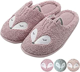 Cute Animal Slippers for Women Mens Winter Warm Memory Foam Cotton Home Slippers Soft Plush Fleece Slip on House Slippers for Girls Indoor Outdoor Shoes