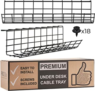 Under Desk Cable Management Tray - Cable Organizer for Wire Management. Metal Wire Cable Tray for Office and Home (Black - Set of 2X 17'')