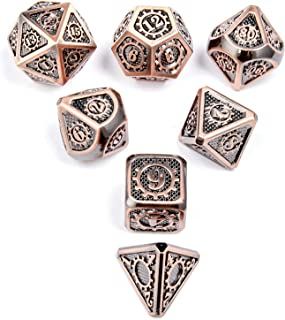 Shiny Copper DND Metal Dice with Gear Number 7pcs Set for Dungeons and Dragons RPG MTG Table Games D&D Pathfinder Shadowru...