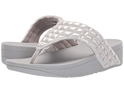 FitFlop Lulu Padded Shimmy Suede Toe Thong (Silver) Women