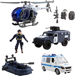 Vokodo Deluxe Police Special Operations Rescue Series Play Set Includes Armed Helicopter Armored Vehicle Ambulance Water Raft Canoe Soldier and Artillery Perfect Kids Pretend Army Action Toys