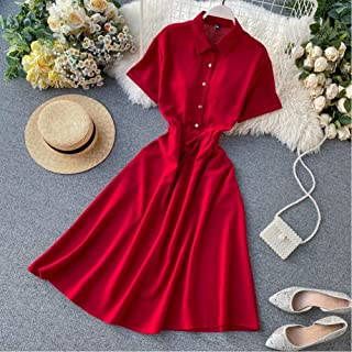 Summer Mid-Length Shirt Top Dress A-Line Party Eve Dress