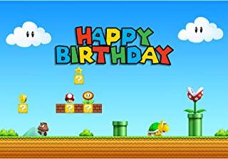 Allenjoy 7x5ft Happy Birthday Game Theme Backdrop Super Brother Adventure Photography Background Cartoon Mushroom Gold Coi...
