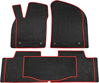 biosp Car Floor Mats for Jeep Grand Cherokee 2017 2018 2019 Front And Rear Heavy Duty Rubber Liner Set Black Red Vehicle Carpet Custom Fit-All Weather Guard Odorless