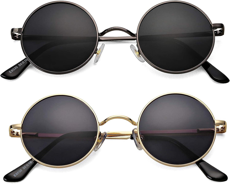 Retro John Lennon Hippie Style Shades Glasses Braylenz 2 Pack Trendy Small Round Polarized Sunglasses for Women Men
