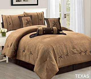 7 Piece Luxury WESTERN Bedding - Oversize KING size TEXAS Micro Suede Comforter Set - Taupe / Brown Lone Star design