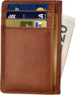 Santo Slim Minimalist Front Pocket RFID Blocking Leather Wallets for Men Women (Light brown)