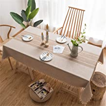 Newisher 2PCS Coffee Cotton Linen Small Square Tablecloth Stitching Tassel Table Cloth Dust-Proof Cover for Kitchen Living...
