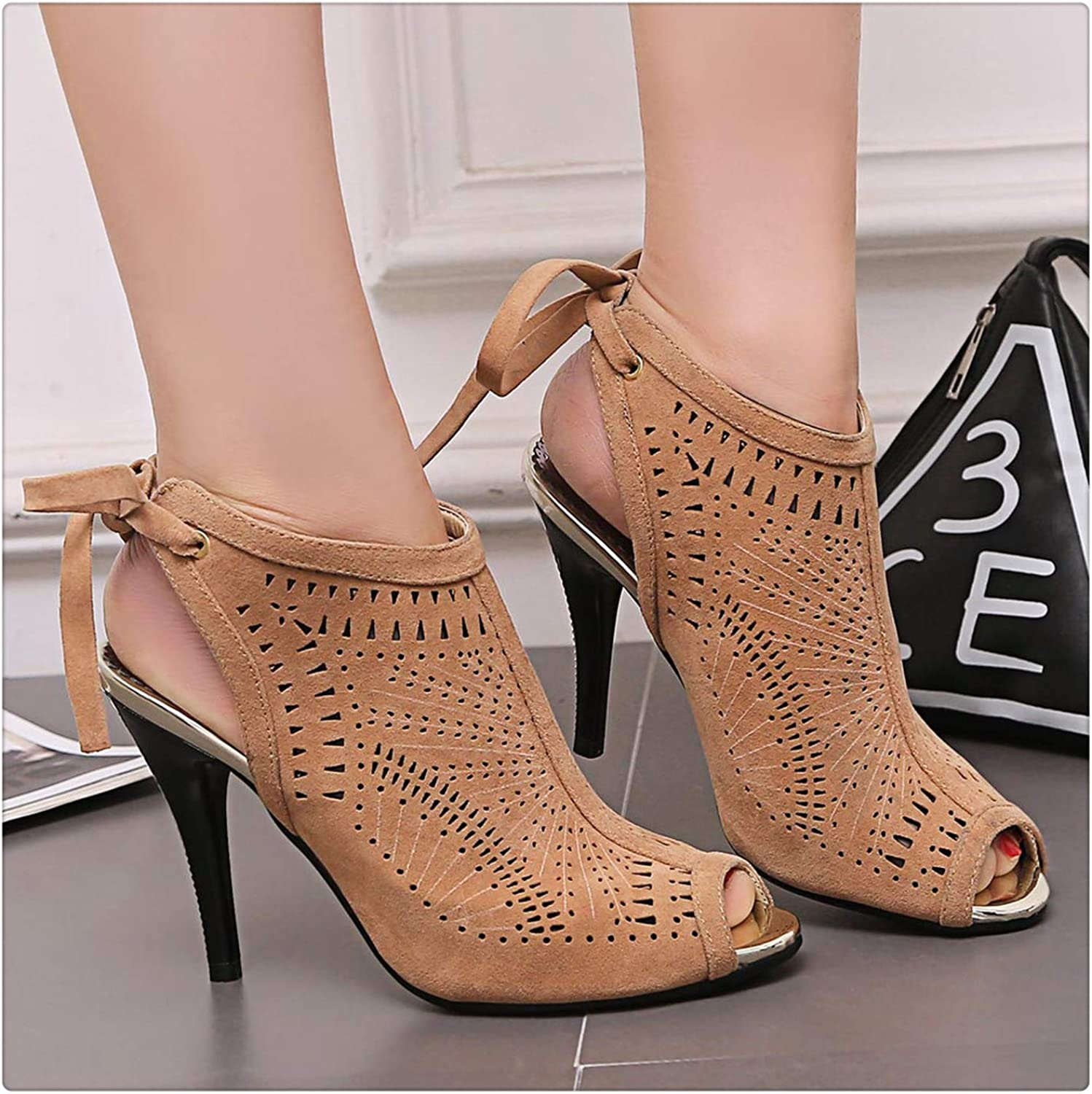 Msanlixian High Thin Heels Sexy Sandals Women Gladiator Cut-Outs Back Strap shoes Summer