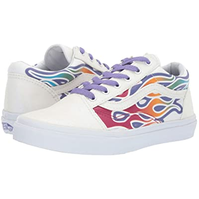 Vans Kids Old Skool (Little Kid/Big Kid) ((Sparkle Flame) Rainbow/True White) Girls Shoes