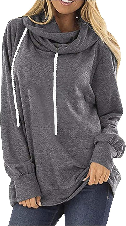 Max 77% OFF Shipping included RFNIU Womens Sweatshirts And Hoodies Drawstring Fashion Turt Red