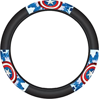 Plasticolor 006756R01 Black Steering Wheel Cover (Marvel Captain America Shield)