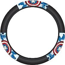 Plasticolor 006756R01 Black Steering Wheel Cover (Marvel Captain America Shield)
