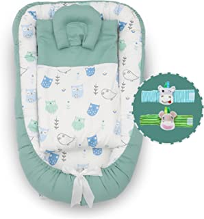 Chaukoko Baby™ Nest Set with Pillow & Blanket - Bonus Gift of Baby Wrist Rattle - Co-Sleeping Lounger for New-Born to 12 M...