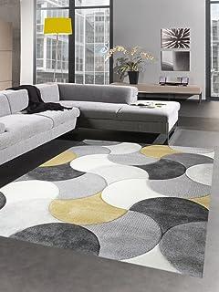CARPETIA Alfombra de diseño de la Sala de Estar Alfombra de Pelo Corto Gotas de Mostaza Amarilla Crema Gris Größe 160x230 cm