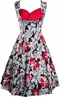 Women's Vintage 1950s Audrey Hepburn V Neck Floral Party Cocktail Swing Dress