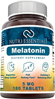 Nutri Essentials Melatonin 5 Mg 180 Tablets (Non-GMO)- Promotes Restful, All-Night Sleep - Helps Reduce Anxiety and Stress*