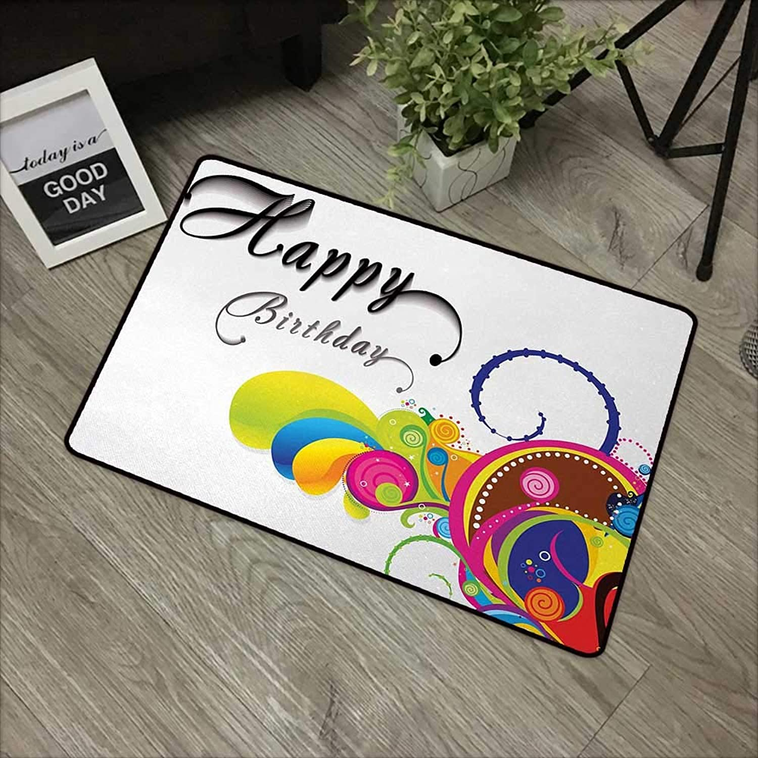 Interior Door mat W35 x L59 INCH Birthday,Spiral colorful Abstract Floral Elements Modern Greeting Card Celebration Inspired,Multicolor Non-Slip Door Mat Carpet