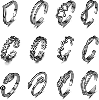 12 قطعة خواتم أصابع القدم قابلة للتعديل للنساء زهرة سهم الفرقة مفتوحة الذيل خاتم المرأة شاطئ القدم مجموعة مجوهرات