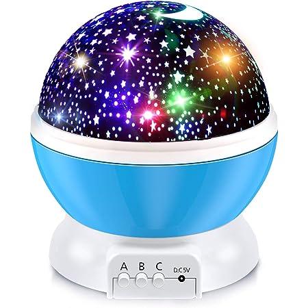 BURNNOVE Proiettore Lampada a Stella e Lampada a Luce Lunare Proiettore Cielo Stellato Proiettore a 360º Rotante Lampada da Sogno Rotante Incolore con Cavo di Ricarica USB