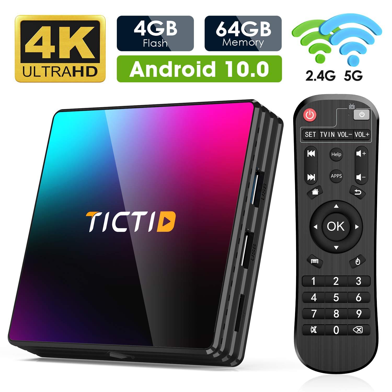 Android 10.0 TV Box, TICTID 4GB RAM 64GB ROM T8 PRO Media Player Android TV Box RK3318 Quad Core 3D 4K H.265 WiFi 2.4G/5G Smart TV Box