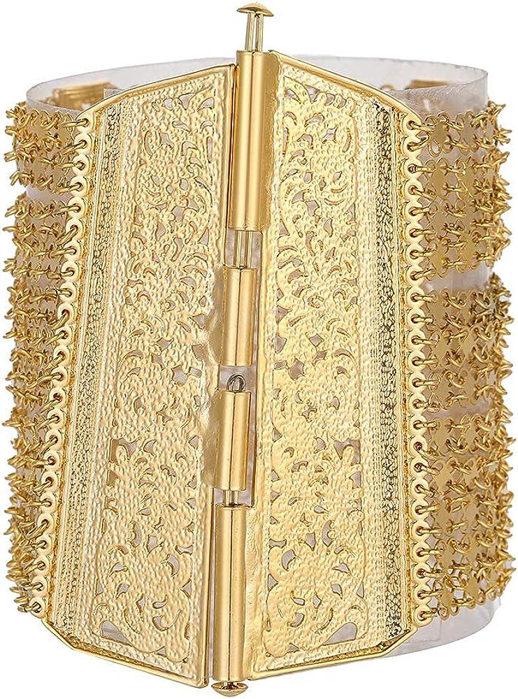 Oman Geometric Hollow Wide Metal Muslim Bangle for Islamic Women Bracelet Cuff Bangle Arab Turkish Jewelry Accessories