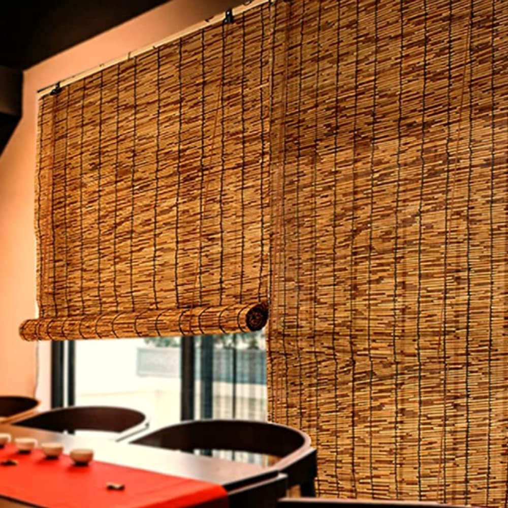 Pteng Dedication Roller Shades for Store Windows Straw Curtain Retro Decoration