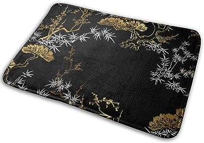 Japanese Chinese Gold Door Mat Rug Indoor/Front Door/Shower Bathroom Doormat, Non-Slip Doormats, 23.6 X 15.8 Inch