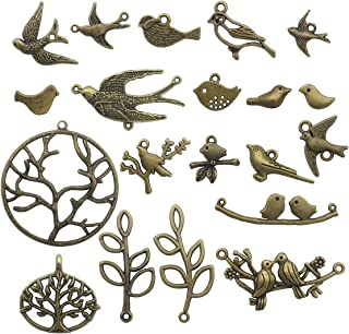 Bird Branch Connector Charms -50pcs Mixed Antique Bronze Charms Pendants for Crafting, Jewelry Findings Making Accessory For DIY Necklace Bracelet (Bird Branch Collection) (antique bronze HK11)