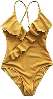 Women's One Piece Swimsuit Ruffle Wrap Textured Beach...