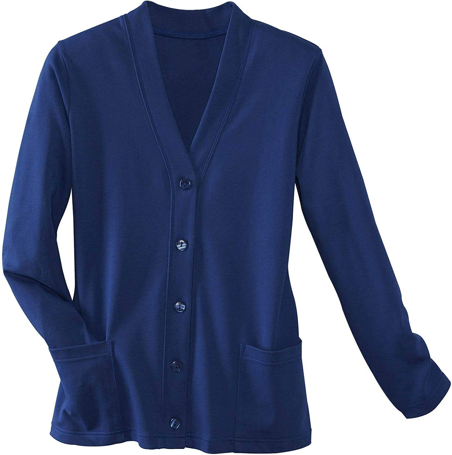 UltraSofts Petites Button-Front Knit Cardigan - Timeless Sweater, Long Sleeves Patch Pockets