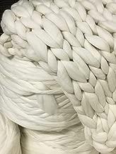 Chunky Yarn, Wool Roving Yarn, Wool Roving 13 lb Bulk Natural White Merino Wool Roving Fiber for Making Chunky Knit Blanket Make Your own Chunky Knit Blanket