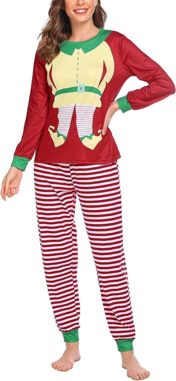 Ekouaer Plus Size Sleepwear Set Red&Green Christmas Pajamas Winter Loungewear Set for Women