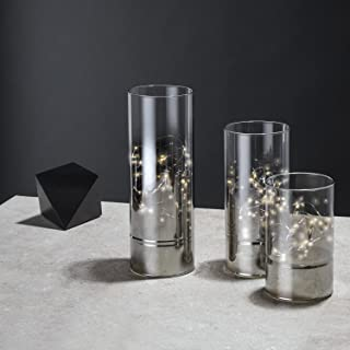 Hurricane Glass Cylinder Lanterns with Fairy Lights, Decorative, Timer Option, Batteries Included, White LEDs - Set of 3