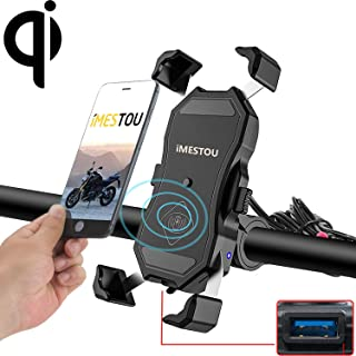 Waterproof Motorcycle Phone Holder Wireless Charger and USB 3.0 Quick Charge Phone Mount 2 in 1 360 Rotation Fit 22-32mm Handlebar or Rear-View Mirror 12-24V Vehicles