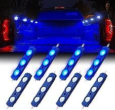 Xprite Led Rock Light for Bed Truck, 24 LEDs Cargo Truck Pickup Bed, Under Car, Foot Wells, Rail Lights, Side Marker LED Rock Lighting Kit w/Switch Blue - 8 PCs