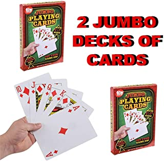 2 Decks of Jumbo Playing Cards 5 X 7 Inches | Giant Cards for Preschoolers, School Age Boys and Girls, and Elderly | Poker, Casino, Magic | Classrooms and Senior Citizen Centers | Alzheimer Dementia